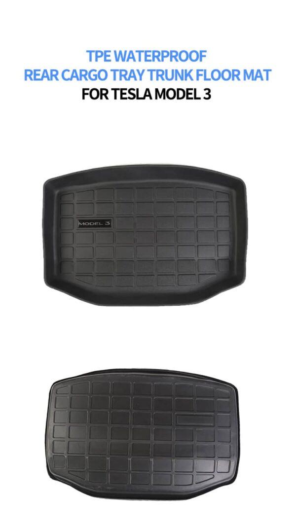 Intérieur Tapis 3D TPE sous coffre arrière (cargo) pour Tesla Model 3 3d