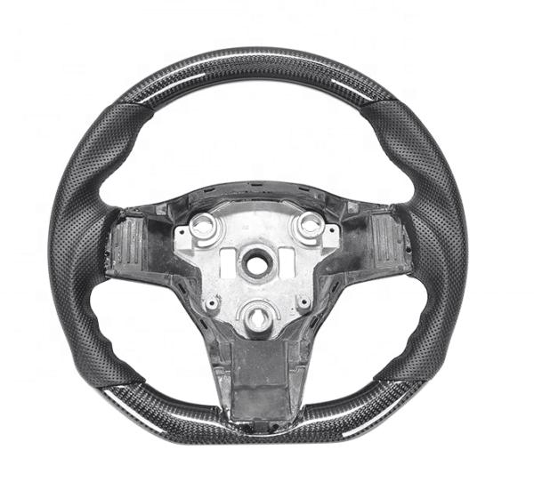 Intérieur Volant Cuir et carbone pour Tesla Model 3 & Y carbone