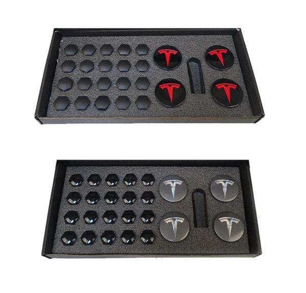 Autre Kit centres de roues avec caches écrous pour jantes Tesla caches ecrous