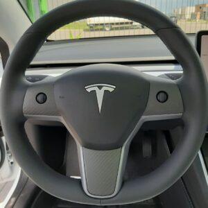 Intérieur Insert volant en véritable carbone pour tesla model 3 & Y brillant