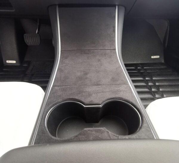 Intérieur Couvre console centrale aspect alcantara pour model 3 & Y alcantara