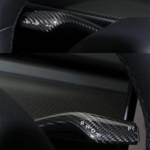 Fibre de carbone Couvres commodos en véritable carbone pour Tesla Model 3 brillant
